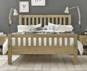 Renzo Aged Oak Slatted High Footend Bed Frame