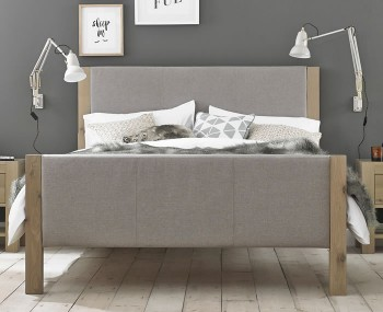 Renzo Aged Oak Upholstered High Footend Bed Frame