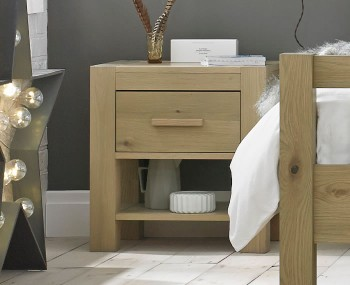 Renzo Aged Oak 1 Drawer Nightstand