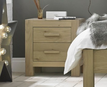 Renzo Aged Oak 2 Drawer Bedside Chest