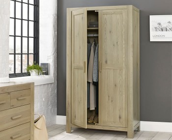Renzo Aged Oak 2 Door Wardrobe