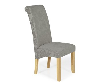 Barnstable Silver Floral and Oak Dining Chairs