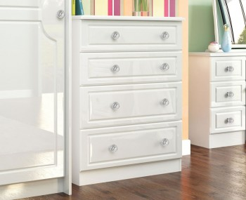 Deeside White Gloss and Crystal 4 Drawer Deep Chest