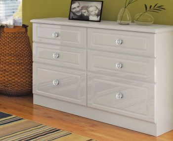 Deeside White Gloss and Crystal 6 Drawer Midi Chest