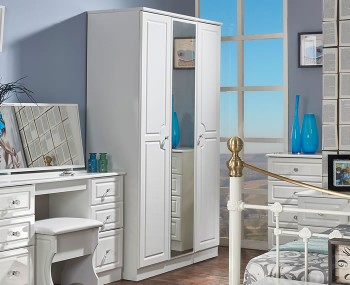 Deeside White Gloss and Crystal 3 Door Wardrobe with Mirror