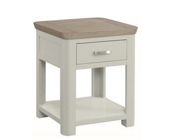 Angelo Stone Painted and Oak Storage Lamp Table