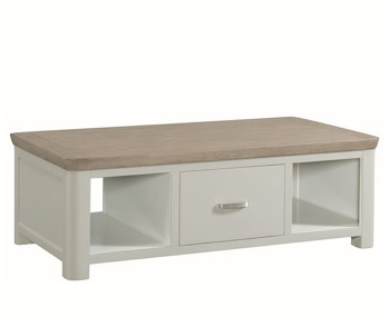 Angelo Stone Painted and Oak Large Storage Coffee Table