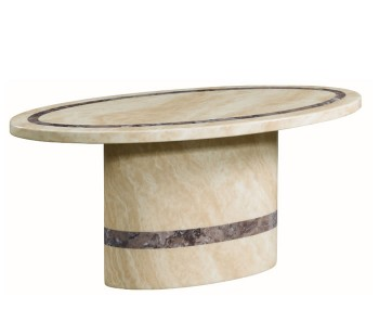 Charleston Cream Marble Oval Coffee Table