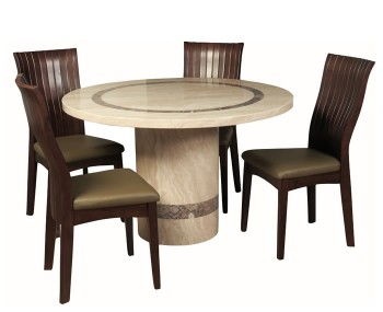 Charleston Cream Marble Round Dining Set