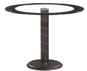 Tula Black Round Glass and Leather Look Dining Table *Special Offer*
