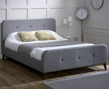 Ballor Ash Grey Upholstered Bed Frame