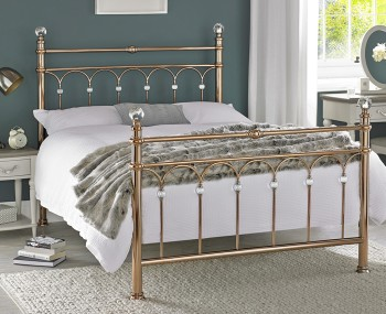 Krystal Rose Gold Metal Bedstead