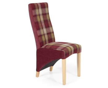Missouri Red Tartan and Oak Dining Chair