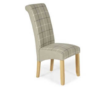 Durham Latte Tartan and Oak Dining Chair