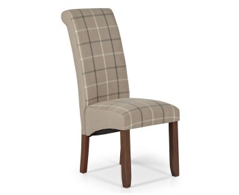 Durham Latte Tartan and Walnut Dining Chair