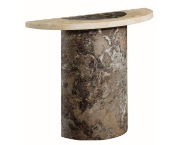 Calabria Dark Brown and Cream Marble Semi Oval Console Table