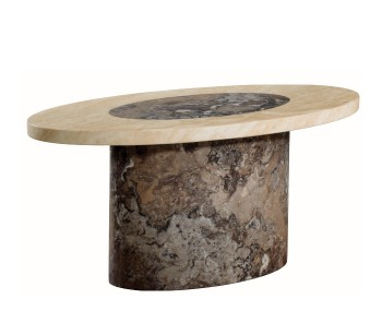 Calabria Dark Brown and Cream Marble Oval Coffee Table