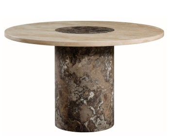 Calabria Dark Brown and Cream Marble Round Dining Table
