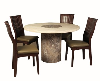 Calabria Dark Brown and Cream Marble Round Dining Set