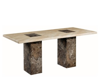 Calabria Dark Brown and Cream Marble 180cm Rectangle Dining Table