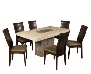Calabria Dark Brown and Cream Marble 150cm Rectangle Dining Set