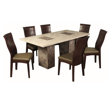 Calabria Dark Brown and Cream Marble 180cm Rectangle Dining Set