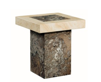Calabria Dark Brown and Cream Marble Square Lamp Table