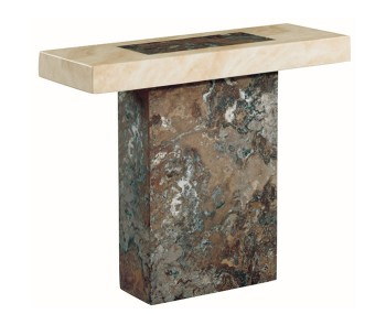 Calabria Dark Brown and Cream Marble Rectangle Console Table