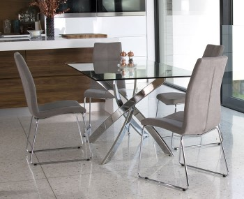Linsdale Clear Glass Rectangular Dining Table and Chairs