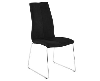 Linsdale Charcoal Fabric and Stainless Steel Dining Chairs