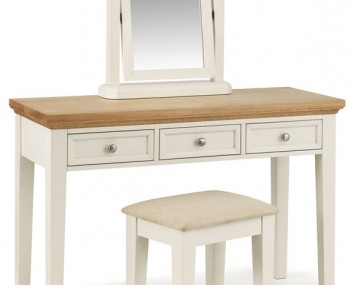Portland Stone White and Oak Dressing Table Set