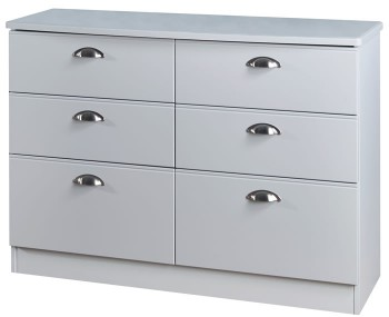 Yeadon Matt Grey 6 Drawer Wide Chest