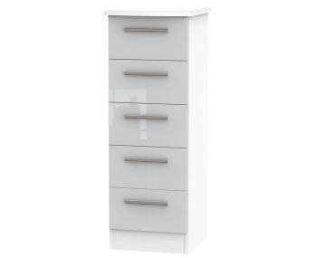 Bishop Kashmir High Gloss 5 Drawer Narrow Chest