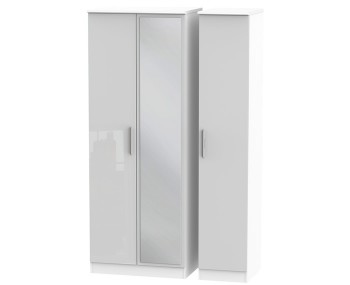 Bishop Kashmir High Gloss Triple Mirror Wardrobe