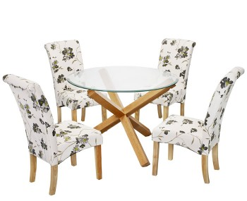Ophelia Round Glass Dining Table and Jeyda Chairs