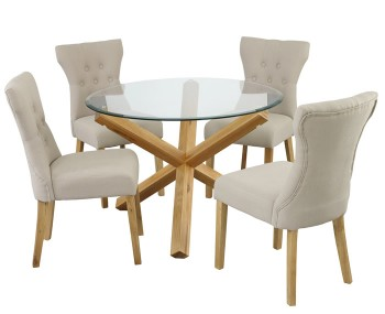 Ophelia Round Glass Dining Table and Nola Chairs