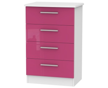 Kati Pink Girls 4 Drawer Wide Chest