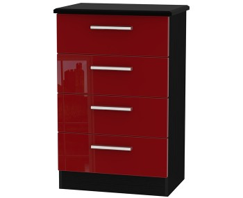 Danni Red Teens 4 Drawer Wide Chest