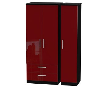 Danni Red Teens Triple 2 Drawer Wardrobe