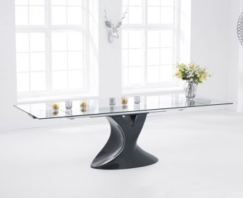 Murcia Glass and Grey High Gloss Extending Dining Table