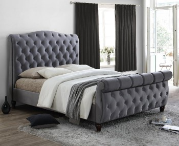 Colorado Grey Upholstered Bed Frame