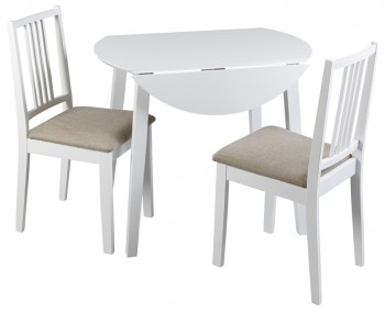 Brydon White Drop Leaf Table and Chairs