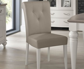 Montreux Soft Grey Leather Dining Chair