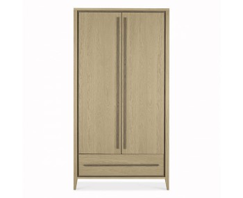 Rimini Weathered Oak 2 Door 1 Drawer Wardrobe