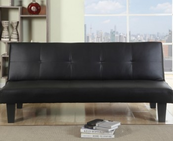 Yorktown 96cm Black Faux Leather Sofa Bed