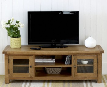 Priory Oak Wide TV Unit