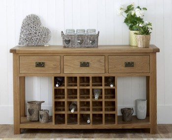 Priory Oak 3 Drawer Sideboard With Wine Rack