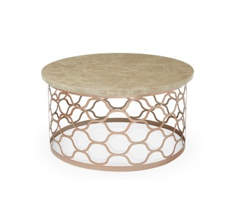 Ophelia Rosegold and Marble Effect Round Coffee Table