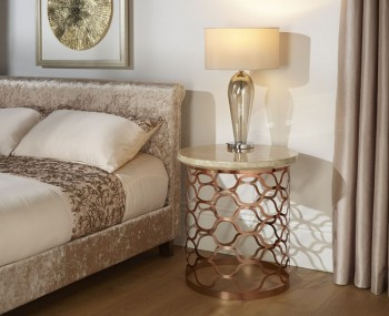 Ophelia Rosegold and Marble Effect Round Lamp Table
