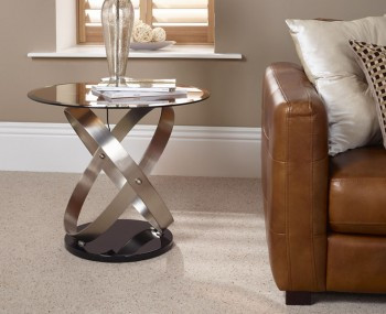 Miranda Smokey Glass Lamp Table